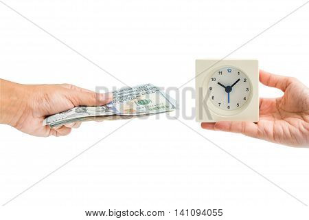Isolated hand hold dollar money cash exchange with hand hold white square alarm clock - business concept of time and money management