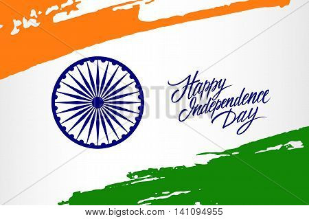 Indian Independence Day greeting card with Ashoka wheel and brush strokes in national flag colors. Vector Illustration.