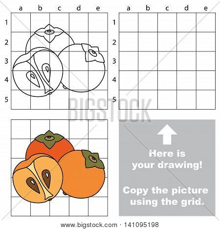 Copy the picture using grid lines. Easy educational game for kids. Simple kid drawing game with Persimmon
