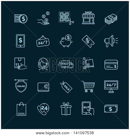Shopping, E-commerce icons on a black background
