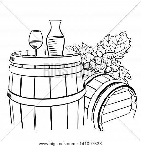Grapes Carafe and Glass of Vine on Wooden Barrel Hand drawn Vector Artwork