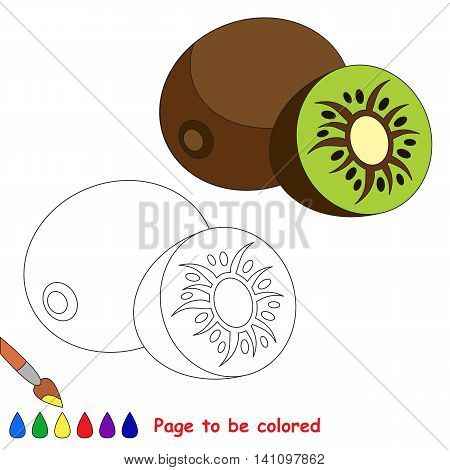 Kiwifruit to be colored. Coloring book for children. Visual educational game. Easy kid gaming. Simple level of difficulty.