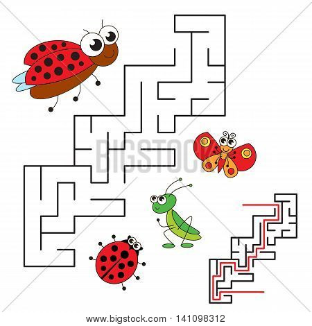 Ladybird and her baby. Kid maze game. Search the way. Easy educational kid game. Simple game level. Help to fihd the solution. Visual labyrinth game for children. Colorful version.