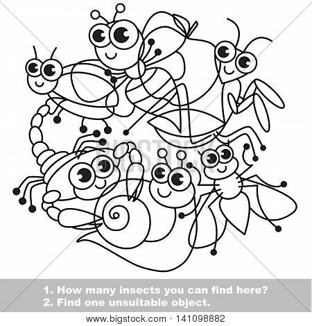 Cute insects. The simple mishmash set in vector outlined to be colored. Find all hidden objects on the picture. Visual game for children. The easy level.