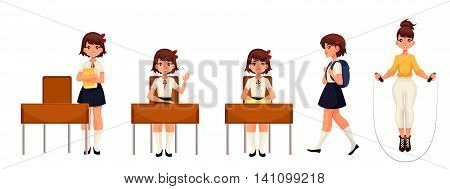 Cartoon school girl standing and sitting at the desk, walking and jumping. illustration isolated on white background. Schoolgirl in different postures