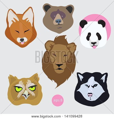 Stickers set of vector of bored tired animal: panda, bear, fox, dog Husky, lion, owl