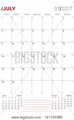 July 2017. Vector Print Template. Monthly Calendar Planner For 2017 Year. Week Starts Sunday. 3 Mont