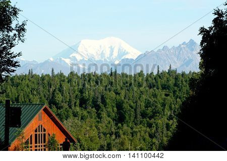 The view of Mount Denali (McKinley) from the Mount McKinley lodge