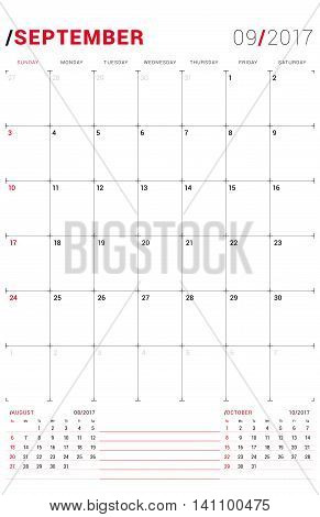 September 2017. Vector Print Template. Monthly Calendar Planner For 2017 Year. Week Starts Sunday. 3