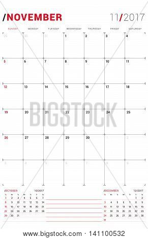 November 2017. Vector Print Template. Monthly Calendar Planner For 2017 Year. Week Starts Sunday. 3