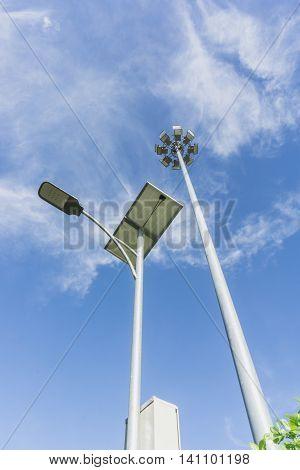 Solar Lighting and Pillar spotlights high on the sky