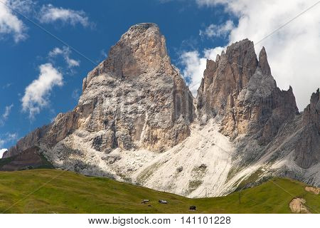 Plattkofel (Sasso Piatto) and Grohmannspitze (Sasso Levante) beautiful mounts in Val di Fassa Near Sellagrupe South Tirol Dolomiten mountains Italien European Alps