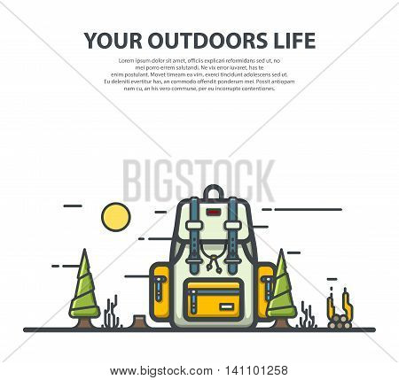 Outline modern white and yellow backpack. Flat vector illustration.