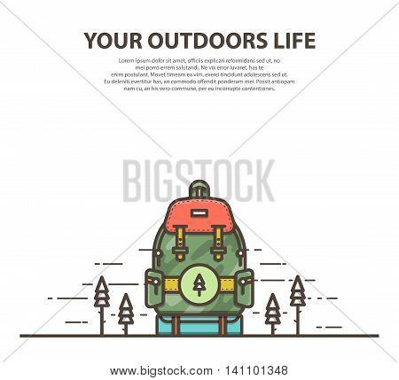 Outline modern military backpack. Flat vector illustration.