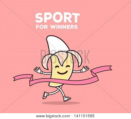 Vector illustration of yellow color smile banana runs through the tape to win on pink background. Creative cartoon banana concept. Doodle style. Thin line art flat design of character banana for sport win theme