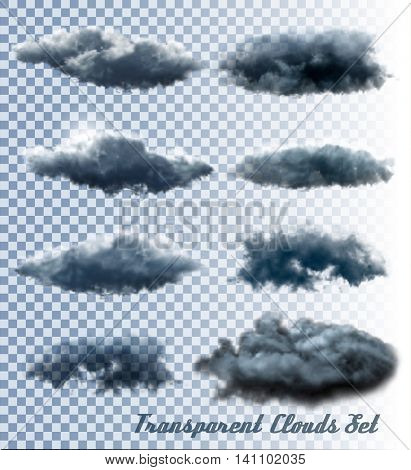 Set of transparent clouds and smoke. Vector.