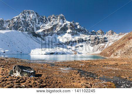 Dudh pokhari Gokyo lake and Phari Lapche peak - Gokyo - Way to Cho Oyu Base Camp - Nepal