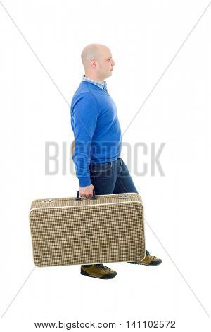 young man traveler, full body, isolated