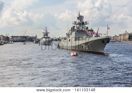 St. Petersburg, Russia - 31 July, Festive parade of warships on the river Neva, 31 July, 2016. Festive parade of warships on the Neva River in St. Petersburg.