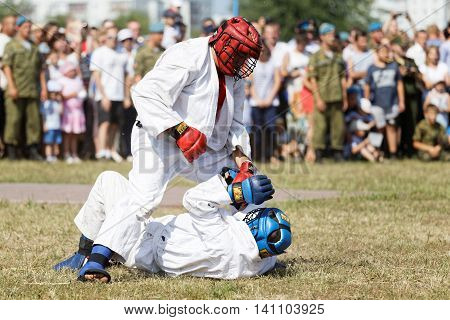 Ulyanovsk Russia - July 31 2016: Airborne soldiers demonstrate mastery of martial arts during the celebration of the Airborne Forces