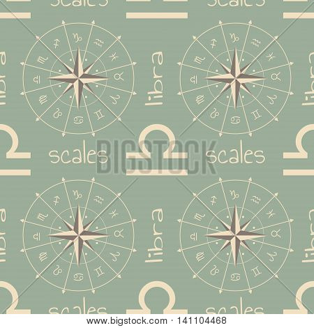 Astrology sign Scales. Seamless background. Vector illustration