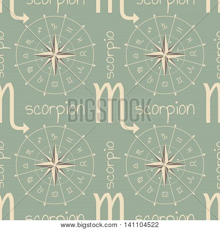 Astrology sign Scorpion. Seamless background. Vector illustration