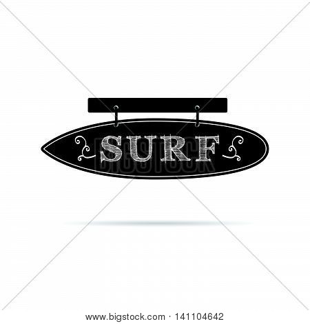Surf Icon On Signboard In Black And White Color Illustration