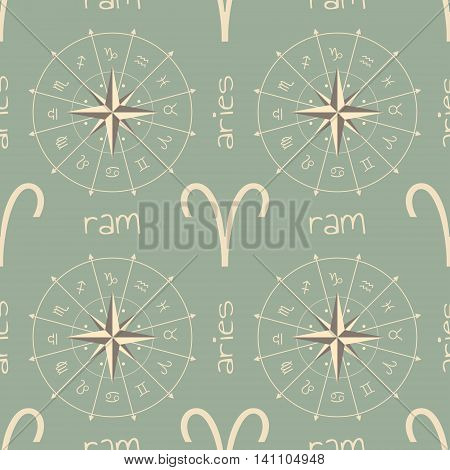 Astrology sign Ram. Seamless background. Vector illustration