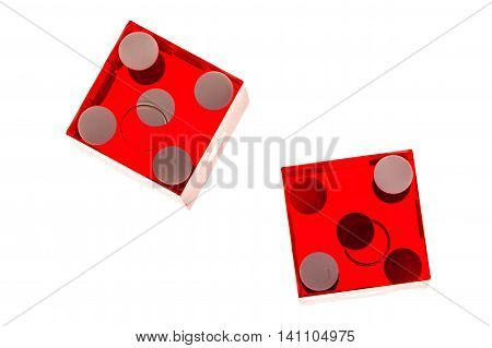 Red Transparent Dice Isolated