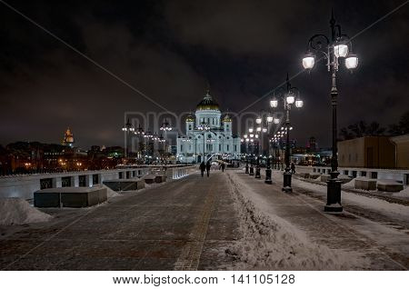 View of the Cathedral of Christ the Saviour in Moscow night winter