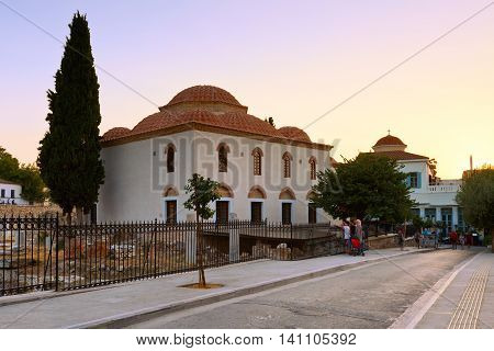 ATHENS, GREECE - AUGUST 02, 2016: Church and remains of  Roman Agora in Athens, Greece on August 02, 2016.