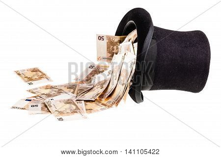 Top Hat With Money Isolated