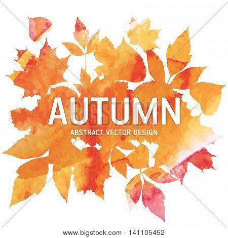 Golden autumn, seasons illustration, leaves of herbarium, abstract vector design art