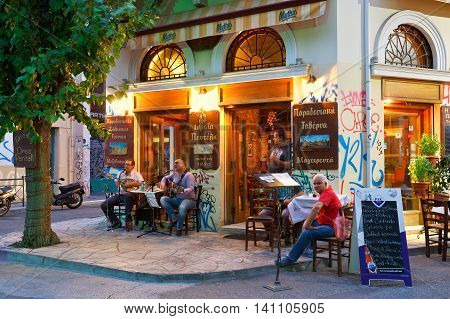 ATHENS, GREECE - AUGUST 02, 2016: Psirri neighborhood in central Athens on August 02, 2016.