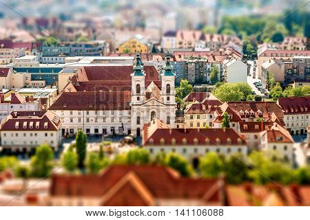 Aerial view on Graz city in Austria. Tilt-shift image technic