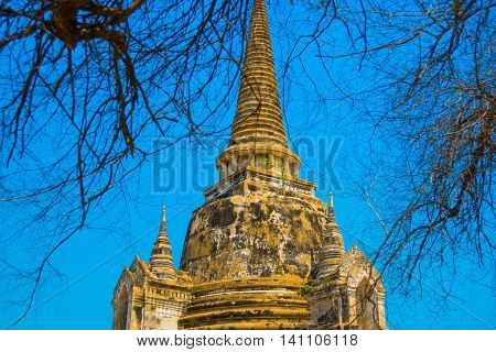 Ancient Palaces On The Background Of Blue Sky. Ayutthaya Thailand.