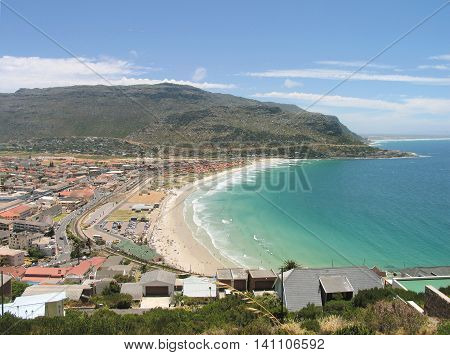 Looking Down On To Fishhoek Beach, Cape Town South Africa