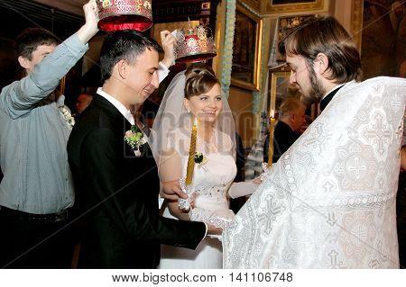 LUTSK UKRAINE - NOVEMBER 03 - Wedding in Orthodox church in Lutsk on November 03 2013.