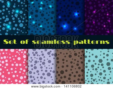 Set Seamless Pattern With Shining Sequins. Magical Festive Backgrounds. Vector Illustration.