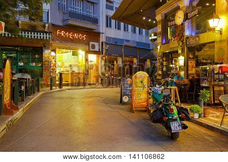 ATHENS, GREECE - AUGUST 02, 2016: Shop in Psirri neighborhood in Heroes' square, Athens on August 02, 2016.