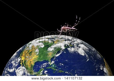 Close up mosquito sucking blood on Earth conceptual image. The Planet Earth original image from NASA.