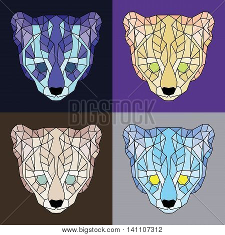 Low poly lined ocelots set. Geometric simple art
