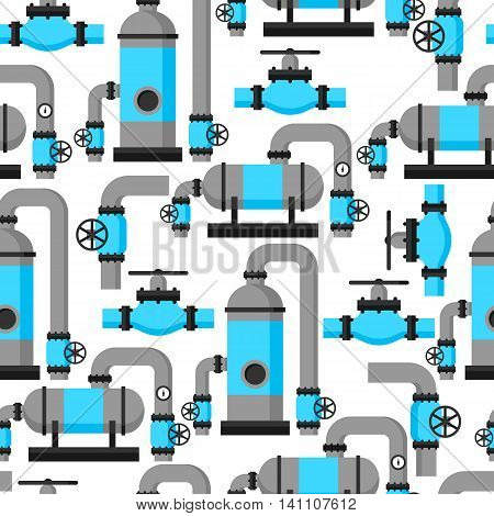 Natural gas heat exchanger, control valves and storage. Industrial seamless pattern.