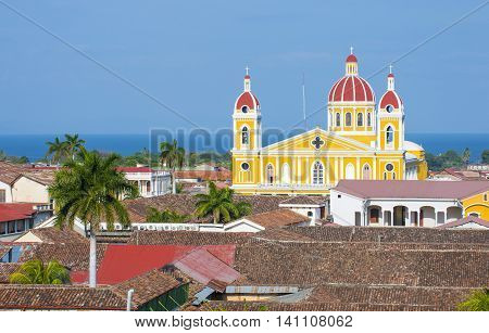 GRANADA NICARAGUA - MARCH 20 : City view of Granada Nicaragua on March 20 2016. Granada was founded in 1524 and it's the first European city in mainland America