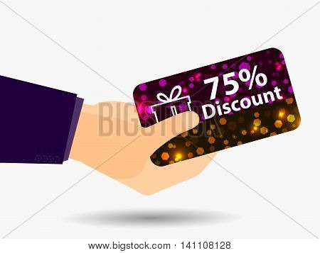 Coupon For A 75-percent Discount In The Hand. Gift Card With Bright Sparks. Vector Illustration.