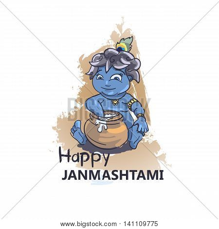 Krishna Janmashtami background in vector. Little cartoon Krishna with a pot of butter. Greeting card for Krishna birthday. Illustration of India community festival.