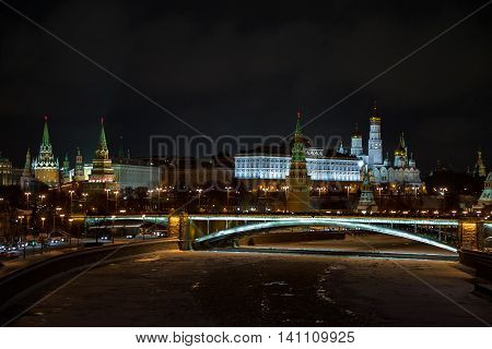 Moscow Kremlin. Night winter scene. The Moscow river embankment. Moscow Kremlin is a UNESCO World Heritage Site.