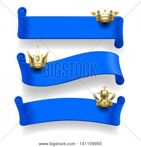 Set of blue ribbons with gold crowns isolated on white background. Contains the Clipping Path