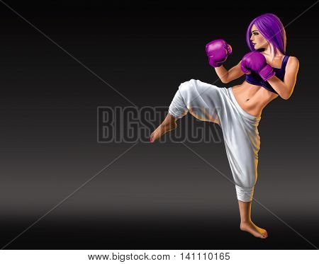 Female kick boxer with purple boxing gloves and hair on a black gradient background.
