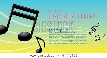 Banner Graphics Icon Symbol Of Music Notes And Treble Clef On Colorful Background Vector.